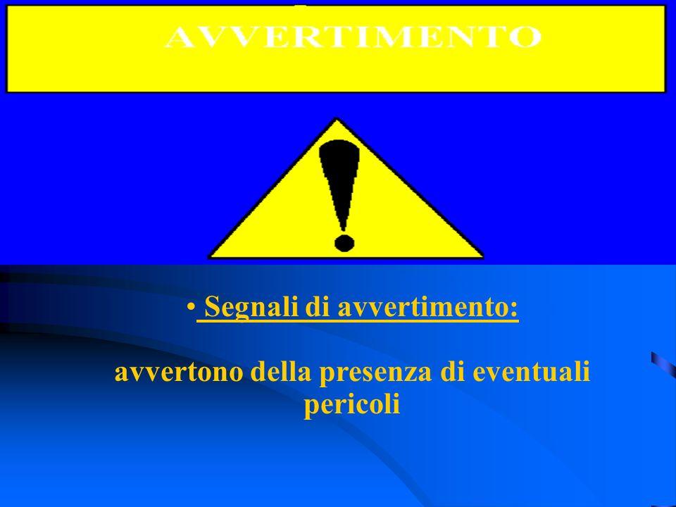 Segnali di avvertimento: avvertono della presenza di eventuali pericoli