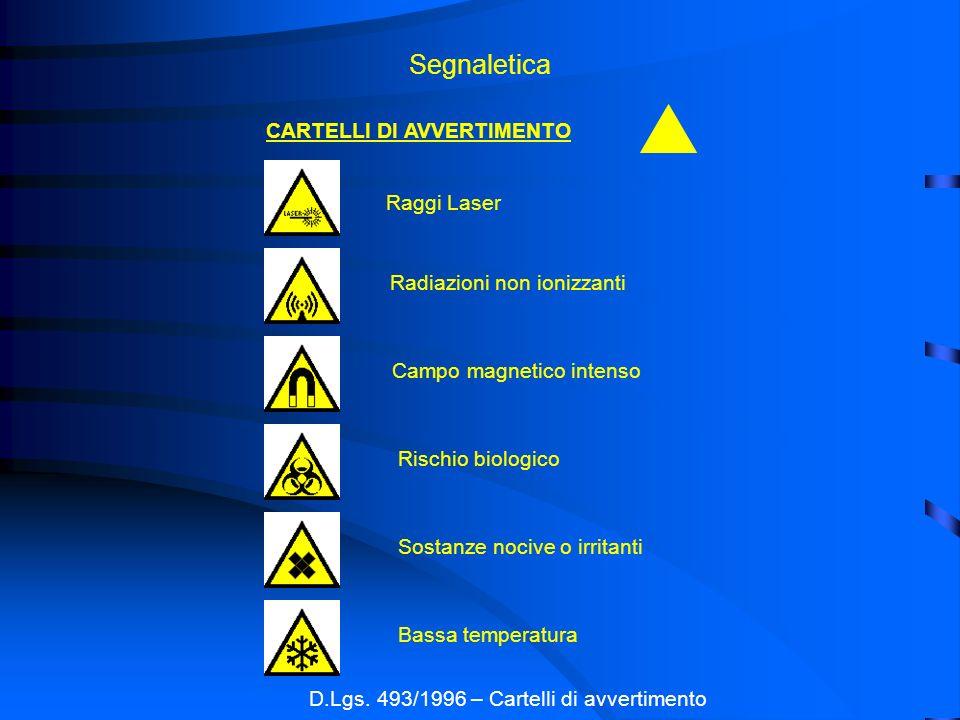 Segnaletica D.Lgs. 493/1996 – Cartelli di avvertimento CARTELLI DI AVVERTIMENTO Raggi Laser Radiazioni non ionizzanti Campo magnetico intenso Rischio