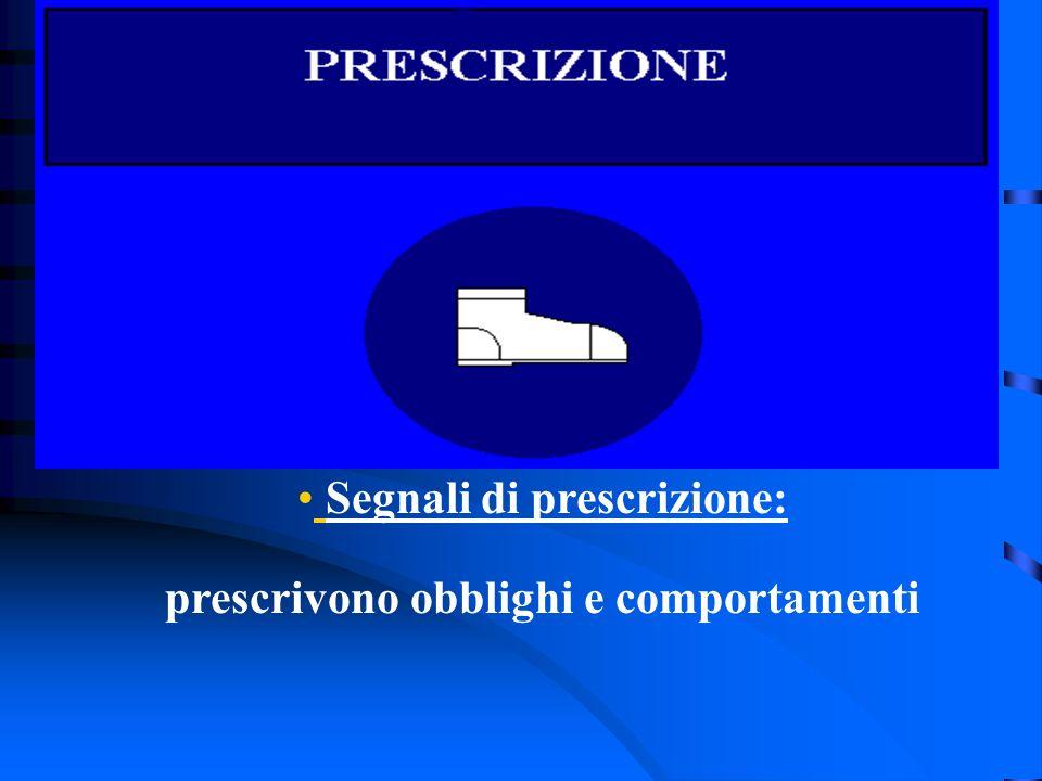 Segnali di prescrizione: prescrivono obblighi e comportamenti