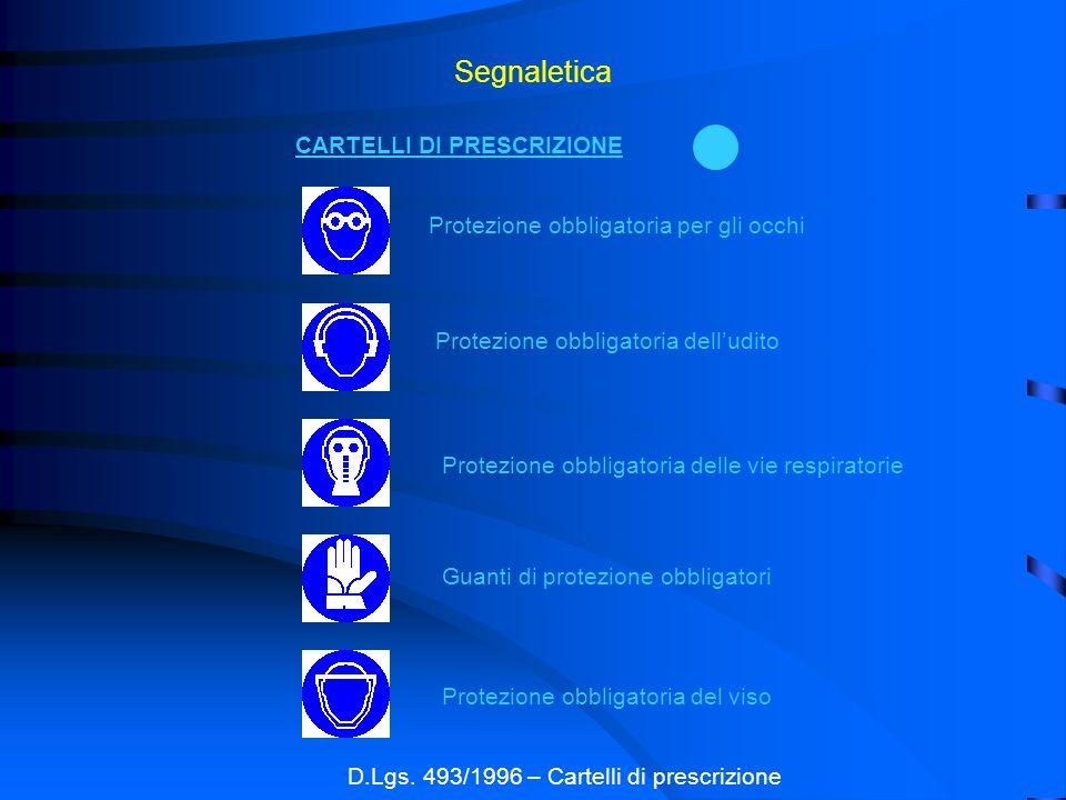 Segnaletica D.Lgs. 493/1996 – Cartelli di prescrizione CARTELLI DI PRESCRIZIONE Protezione obbligatoria per gli occhi Protezione obbligatoria delludit