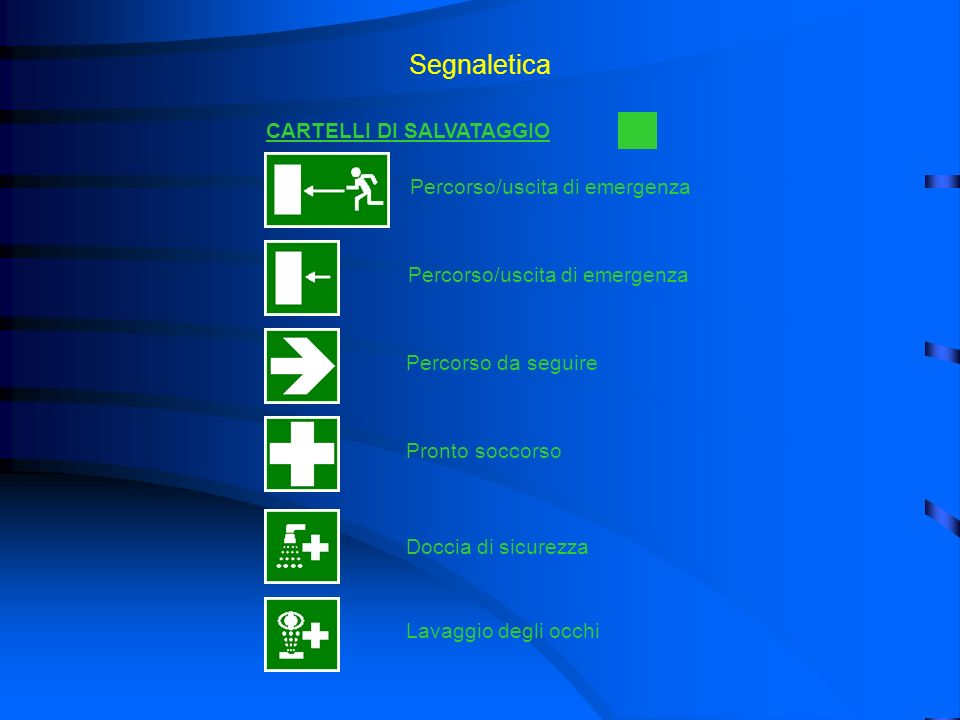 Segnaletica CARTELLI DI SALVATAGGIO Percorso/uscita di emergenza Percorso da seguire Pronto soccorso Doccia di sicurezza Lavaggio degli occhi