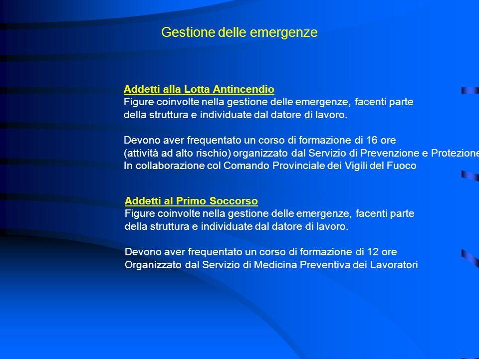 Gestione delle emergenze Addetti alla Lotta Antincendio Figure coinvolte nella gestione delle emergenze, facenti parte della struttura e individuate d