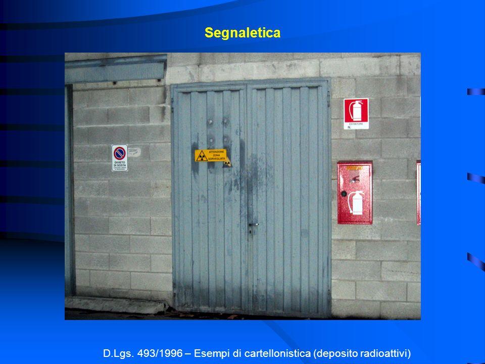 Segnaletica D.Lgs. 493/1996 – Esempi di cartellonistica (deposito radioattivi)