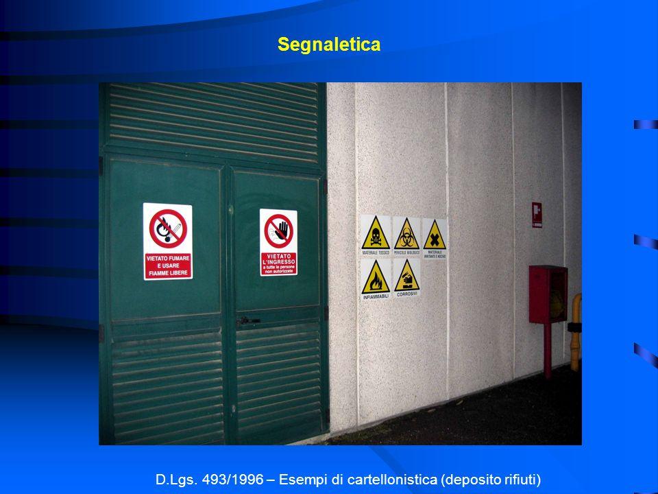 Segnaletica D.Lgs. 493/1996 – Esempi di cartellonistica (deposito rifiuti)