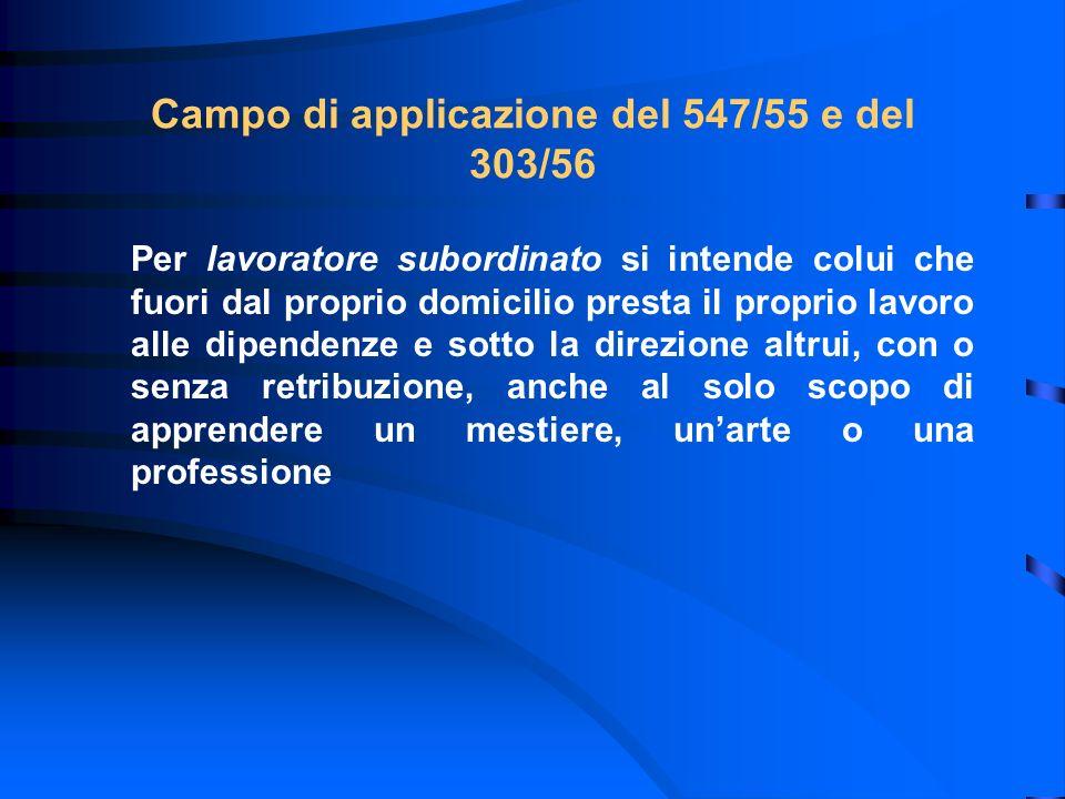 Campo di applicazione del 547/55 e del 303/56 Per lavoratore subordinato si intende colui che fuori dal proprio domicilio presta il proprio lavoro all