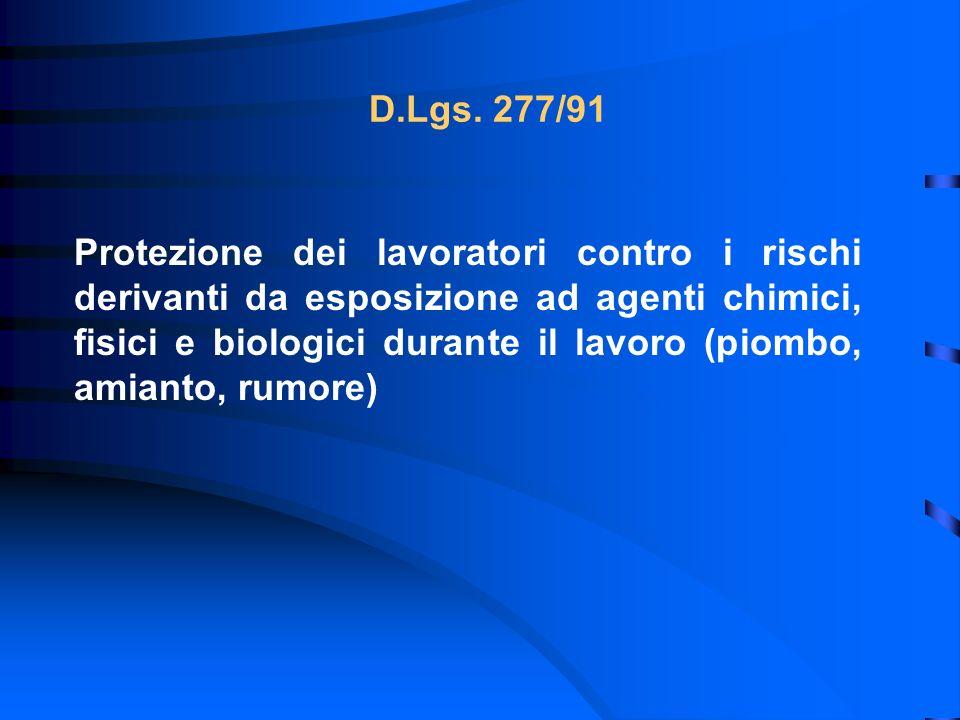 D.Lgs. 277/91 Protezione dei lavoratori contro i rischi derivanti da esposizione ad agenti chimici, fisici e biologici durante il lavoro (piombo, amia