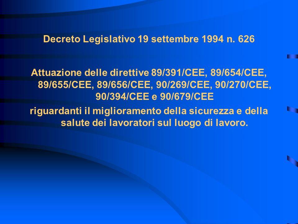 Decreto Legislativo 19 settembre 1994 n. 626 Attuazione delle direttive 89/391/CEE, 89/654/CEE, 89/655/CEE, 89/656/CEE, 90/269/CEE, 90/270/CEE, 90/394