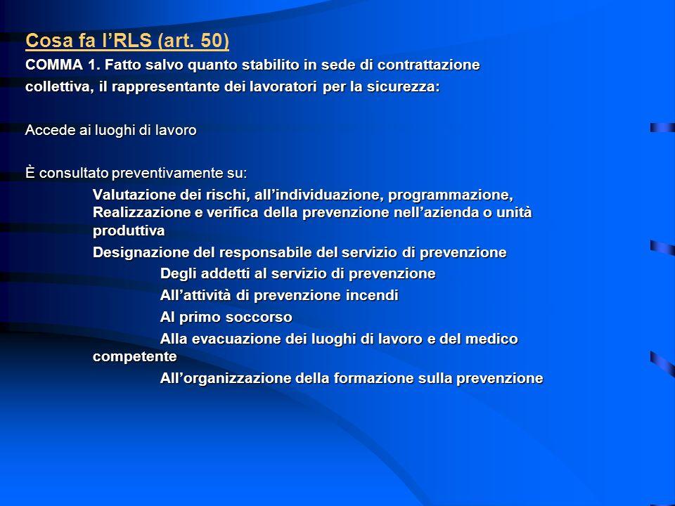 Cosa fa lRLS (art. 50) COMMA 1. Fatto salvo quanto stabilito in sede di contrattazione collettiva, il rappresentante dei lavoratori per la sicurezza:
