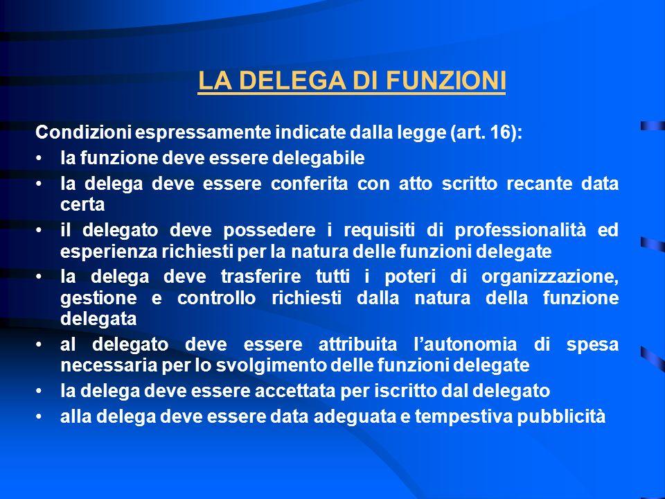 Condizioni espressamente indicate dalla legge (art. 16): la funzione deve essere delegabile la delega deve essere conferita con atto scritto recante d