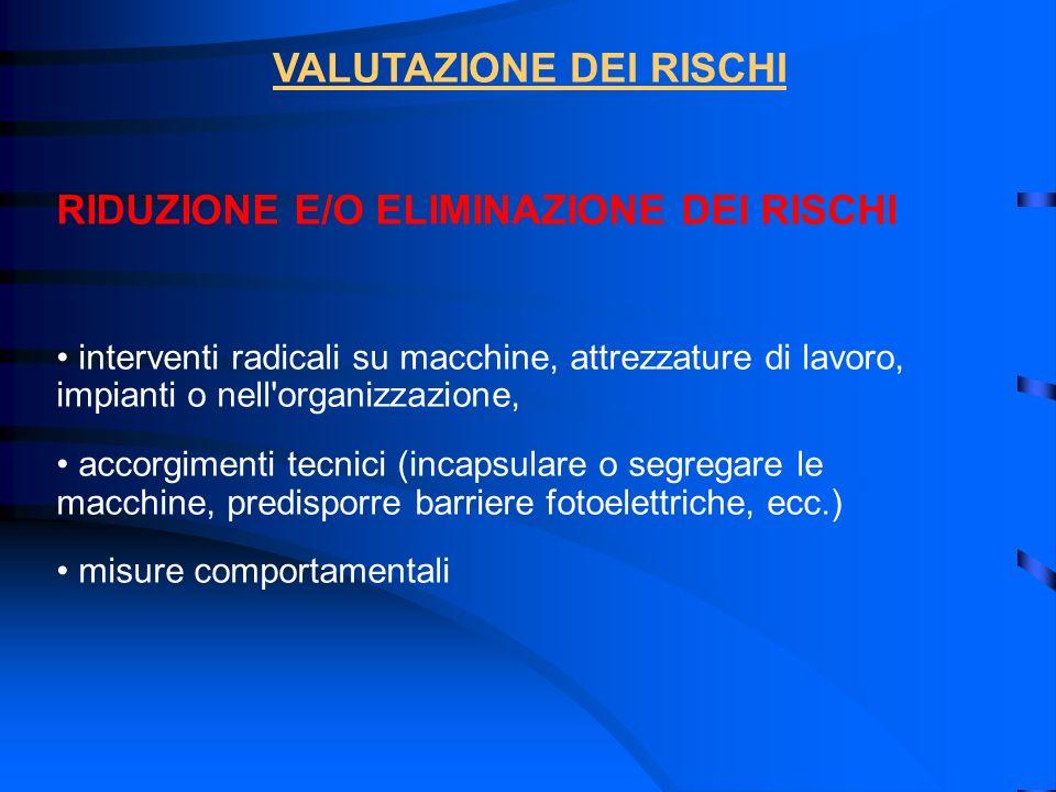 RIDUZIONE E/O ELIMINAZIONE DEI RISCHI interventi radicali su macchine, attrezzature di lavoro, impianti o nell'organizzazione, accorgimenti tecnici (i