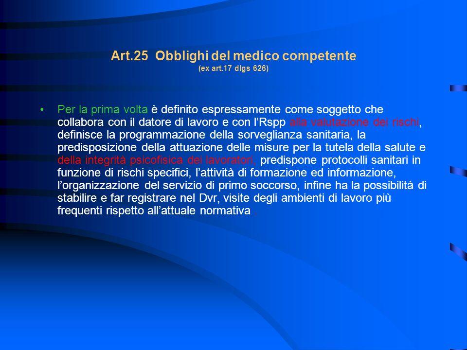 Art.25 Obblighi del medico competente (ex art.17 dlgs 626) Per la prima volta è definito espressamente come soggetto che collabora con il datore di la