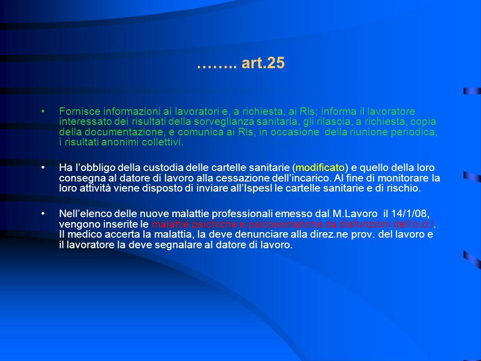 …….. art.25 Fornisce informazioni ai lavoratori e, a richiesta, ai Rls; informa il lavoratore interessato dei risultati della sorveglianza sanitaria,