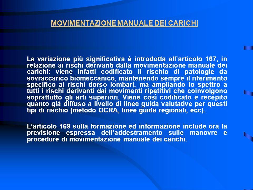MOVIMENTAZIONE MANUALE DEI CARICHI La variazione più significativa è introdotta allarticolo 167, in relazione ai rischi derivanti dalla movimentazione