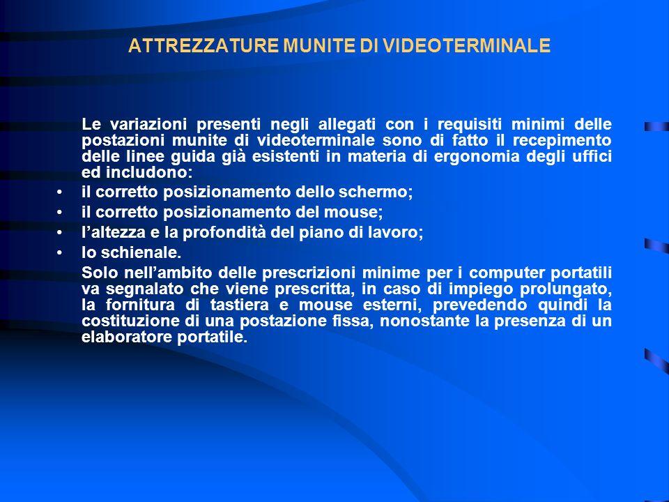 ATTREZZATURE MUNITE DI VIDEOTERMINALE Le variazioni presenti negli allegati con i requisiti minimi delle postazioni munite di videoterminale sono di f