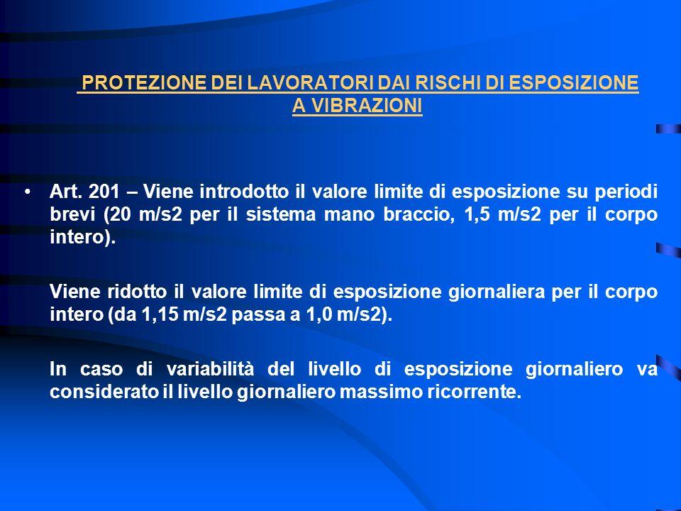 PROTEZIONE DEI LAVORATORI DAI RISCHI DI ESPOSIZIONE A VIBRAZIONI Art. 201 – Viene introdotto il valore limite di esposizione su periodi brevi (20 m/s2