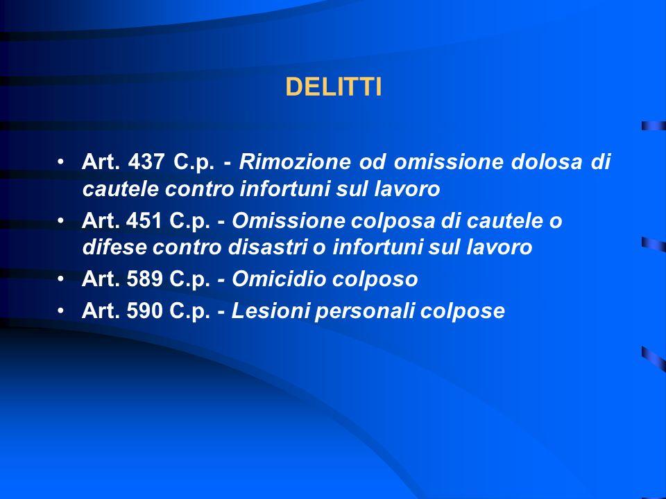 DELITTI Art. 437 C.p. - Rimozione od omissione dolosa di cautele contro infortuni sul lavoro Art. 451 C.p. - Omissione colposa di cautele o difese con