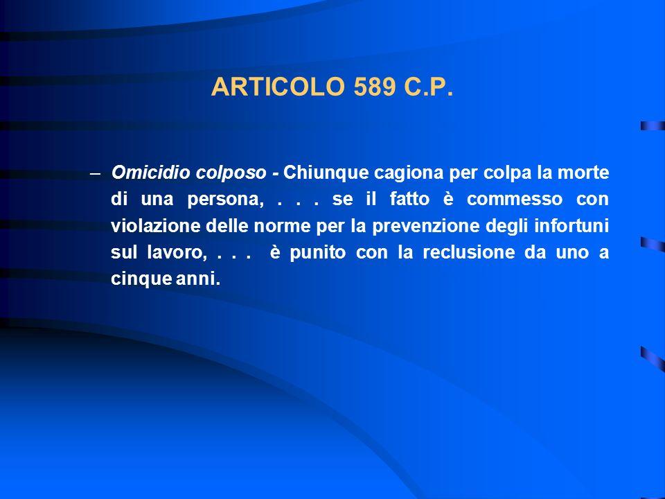 ARTICOLO 589 C.P. –Omicidio colposo - Chiunque cagiona per colpa la morte di una persona,... se il fatto è commesso con violazione delle norme per la