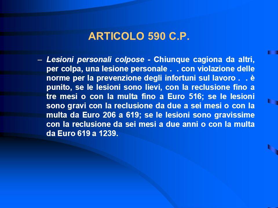 ARTICOLO 590 C.P. –Lesioni personali colpose - Chiunque cagiona da altri, per colpa, una lesione personale.. con violazione delle norme per la prevenz