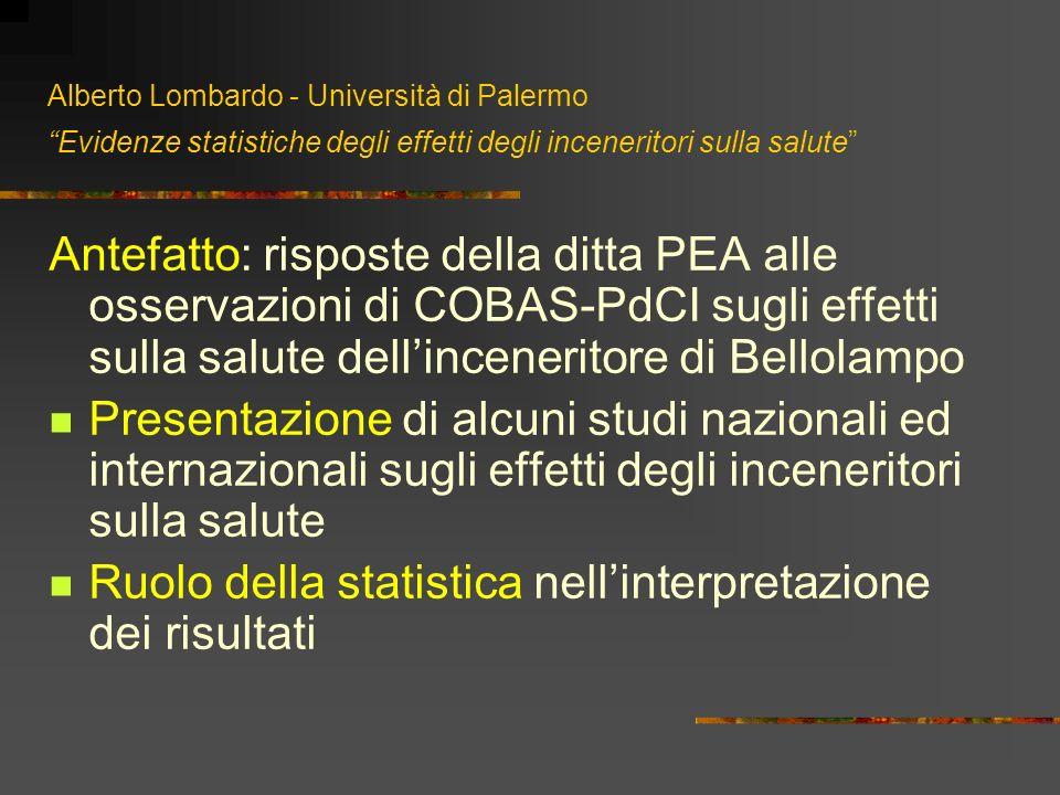 Alberto Lombardo - Università di Palermo Evidenze statistiche degli effetti degli inceneritori sulla salute Antefatto: risposte della ditta PEA alle o