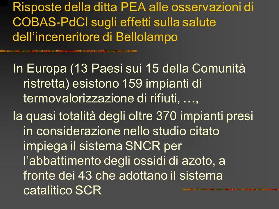 Risposte della ditta PEA alle osservazioni di COBAS-PdCI sugli effetti sulla salute dellinceneritore di Bellolampo In Europa (13 Paesi sui 15 della Co