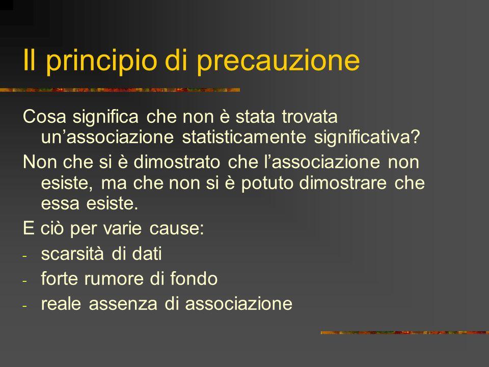 Il principio di precauzione Cosa significa che non è stata trovata unassociazione statisticamente significativa? Non che si è dimostrato che lassociaz