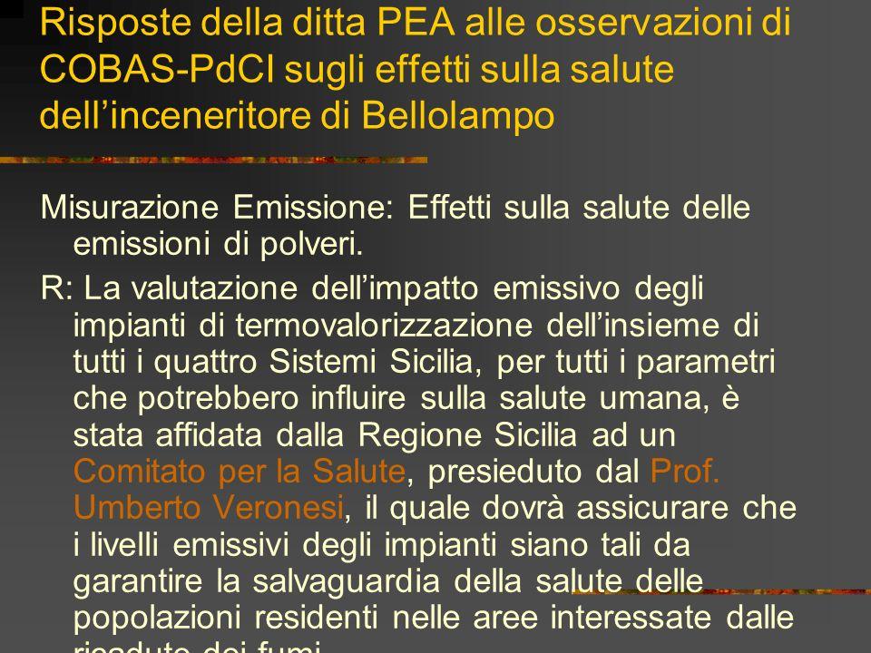 Risposte della ditta PEA alle osservazioni di COBAS-PdCI sugli effetti sulla salute dellinceneritore di Bellolampo Misurazione Emissione: Effetti sull