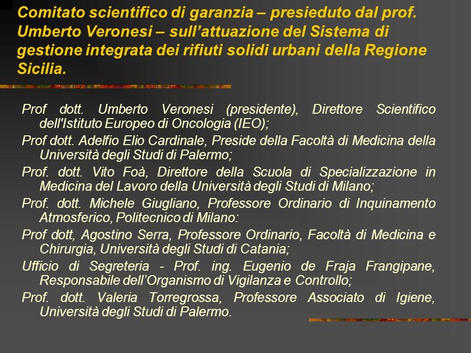 Comitato scientifico di garanzia – presieduto dal prof. Umberto Veronesi – sullattuazione del Sistema di gestione integrata dei rifiuti solidi urbani