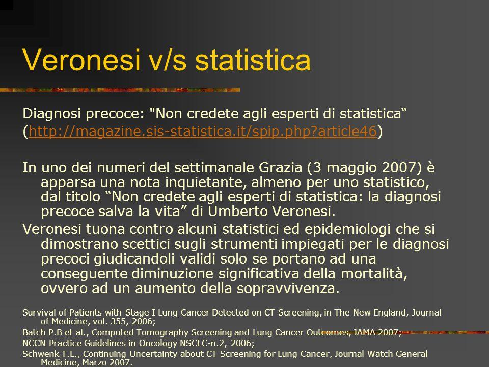 Veronesi v/s statistica Diagnosi precoce: