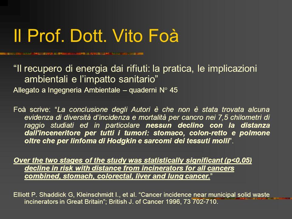 Il Prof. Dott. Vito Foà Il recupero di energia dai rifiuti: la pratica, le implicazioni ambientali e limpatto sanitario Allegato a Ingegneria Ambienta