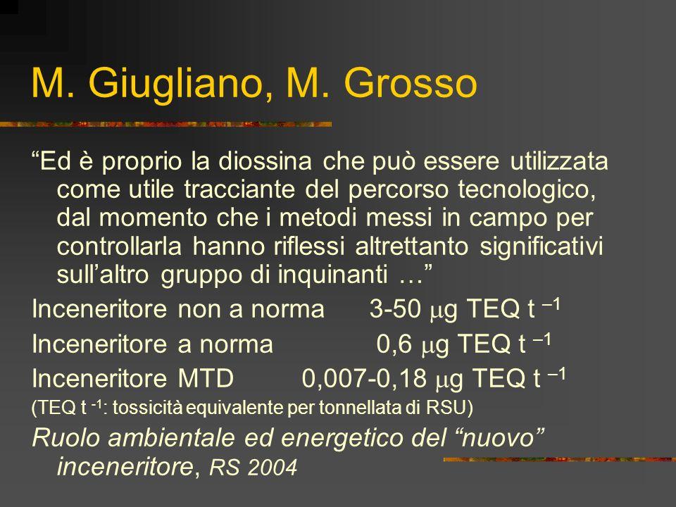 M. Giugliano, M. Grosso Ed è proprio la diossina che può essere utilizzata come utile tracciante del percorso tecnologico, dal momento che i metodi me