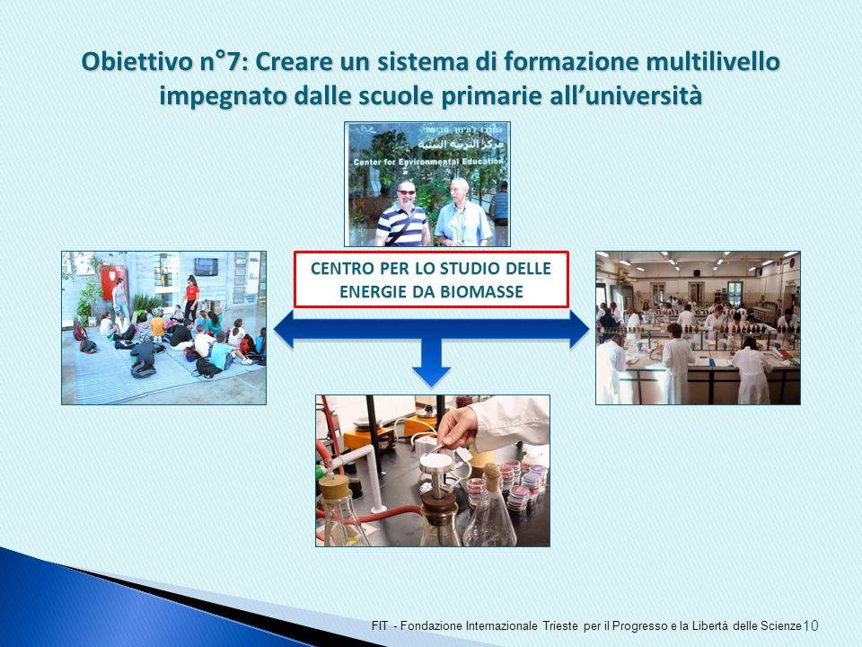 10 Obiettivo n°7: Creare un sistema di formazione multilivello impegnato dalle scuole primarie alluniversità FIT - Fondazione Internazionale Trieste p