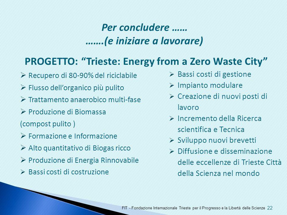 PROGETTO: Trieste: Energy from a Zero Waste City Recupero di 80-90% del riciclabile Flusso dellorganico più pulito Trattamento anaerobico multi-fase P