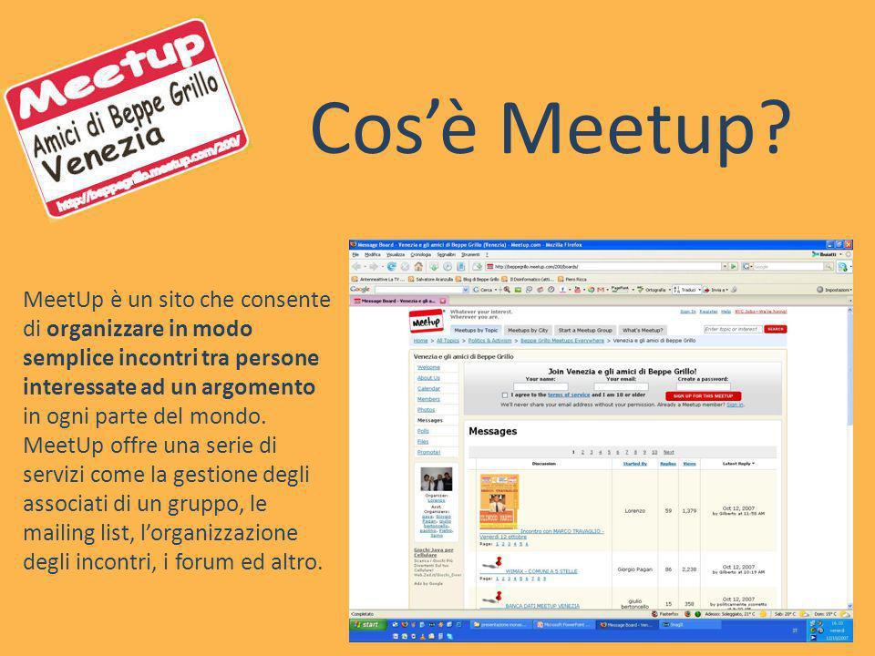 Cosè Meetup? MeetUp è un sito che consente di organizzare in modo semplice incontri tra persone interessate ad un argomento in ogni parte del mondo. M