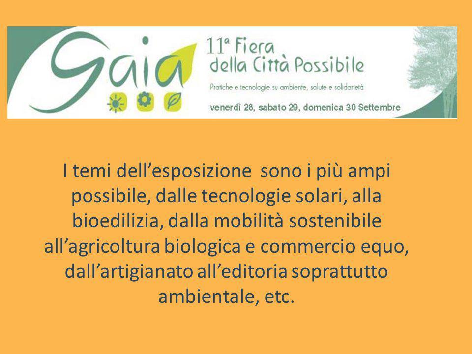 I temi dellesposizione sono i più ampi possibile, dalle tecnologie solari, alla bioedilizia, dalla mobilità sostenibile allagricoltura biologica e com