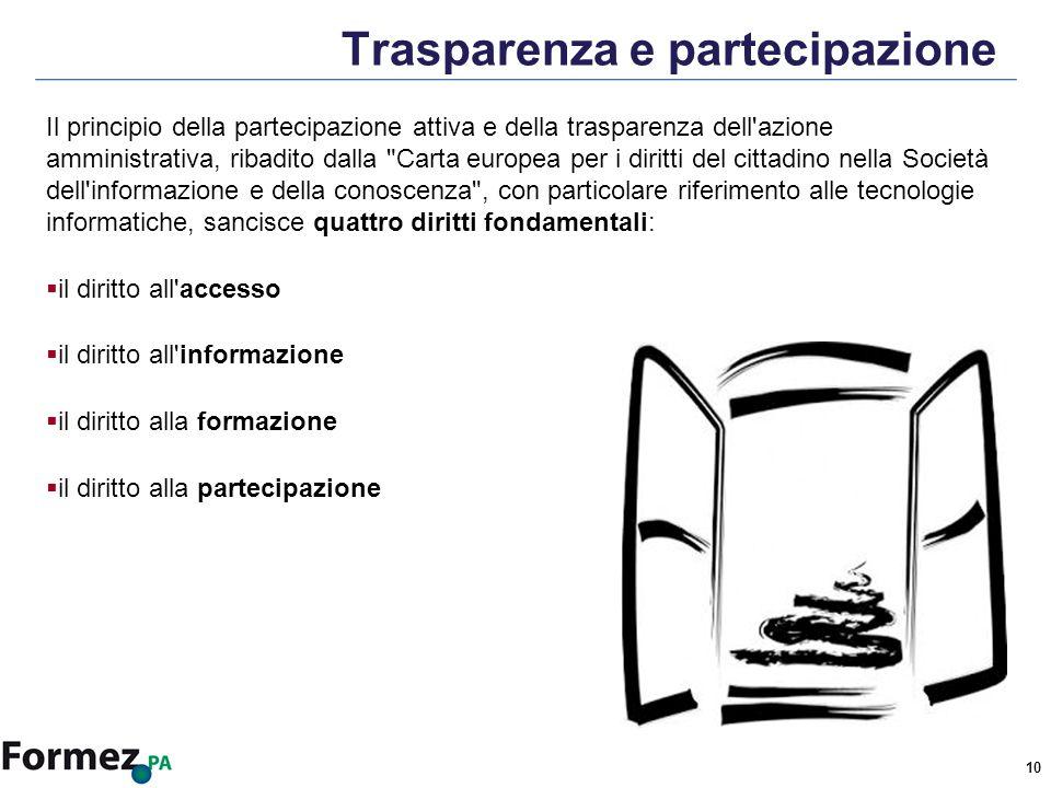 10 Trasparenza e partecipazione Il principio della partecipazione attiva e della trasparenza dell azione amministrativa, ribadito dalla Carta europea per i diritti del cittadino nella Società dell informazione e della conoscenza , con particolare riferimento alle tecnologie informatiche, sancisce quattro diritti fondamentali: il diritto all accesso il diritto all informazione il diritto alla formazione il diritto alla partecipazione