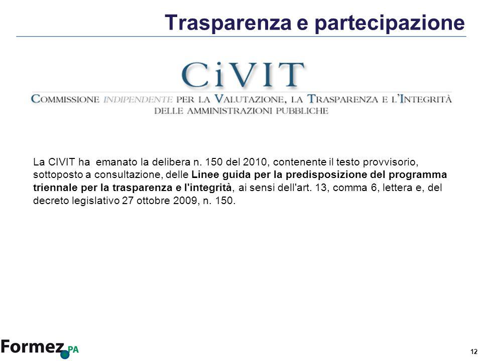12 Trasparenza e partecipazione La CIVIT ha emanato la delibera n.