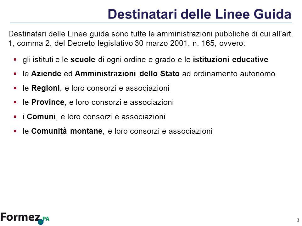 3 Destinatari delle Linee Guida Destinatari delle Linee guida sono tutte le amministrazioni pubbliche di cui all art.
