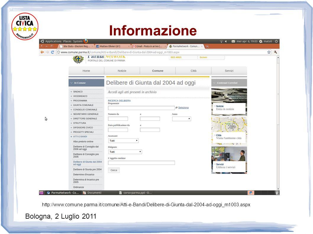 Bologna, 2 Luglio 2011 Informazione http://www.comune.parma.it/comune/Atti-e-Bandi/Delibere-di-Giunta-dal-2004-ad-oggi_m1003.aspx