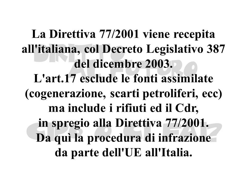 La Direttiva 77/2001 viene recepita all'italiana, col Decreto Legislativo 387 del dicembre 2003. L'art.17 esclude le fonti assimilate (cogenerazione,