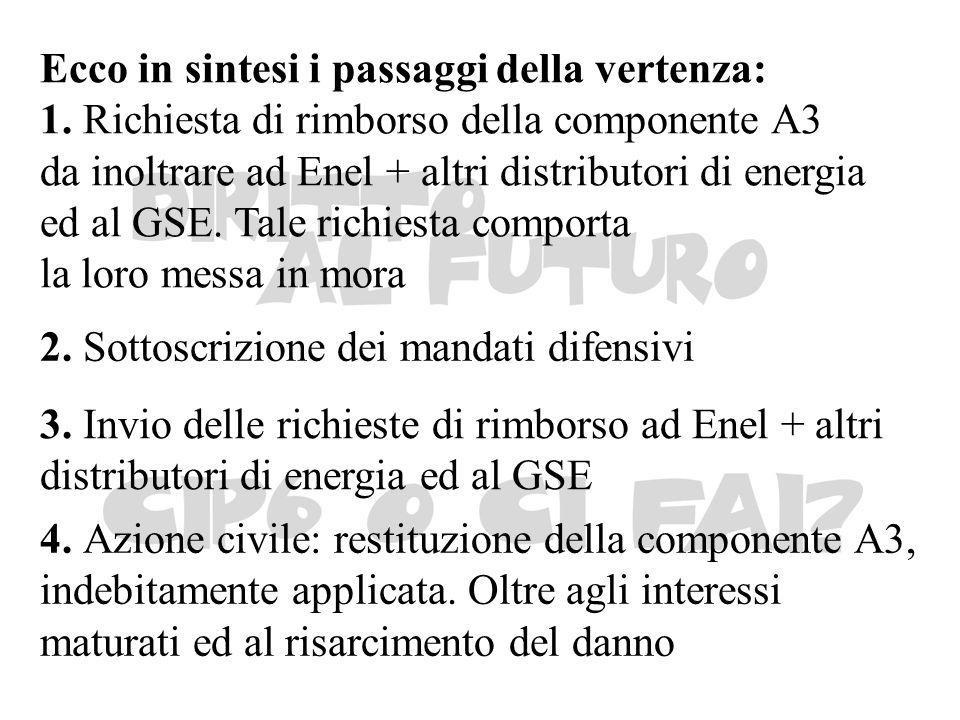 Ecco in sintesi i passaggi della vertenza: 1. Richiesta di rimborso della componente A3 da inoltrare ad Enel + altri distributori di energia ed al GSE