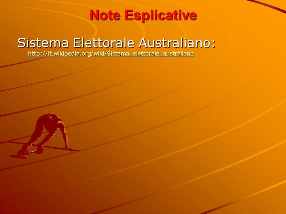 Note Esplicative Sistema Elettorale Australiano: http://it.wikipedia.org/wiki/Sistema_elettorale_australiano http://it.wikipedia.org/wiki/Sistema_elet