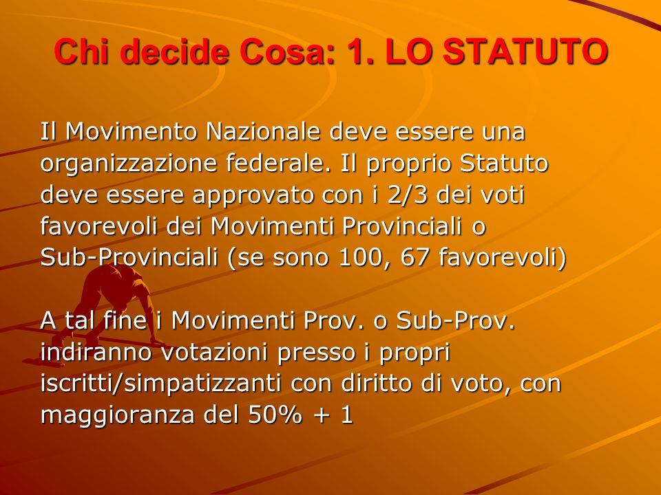 Chi decide Cosa: 1. LO STATUTO Il Movimento Nazionale deve essere una organizzazione federale. Il proprio Statuto deve essere approvato con i 2/3 dei