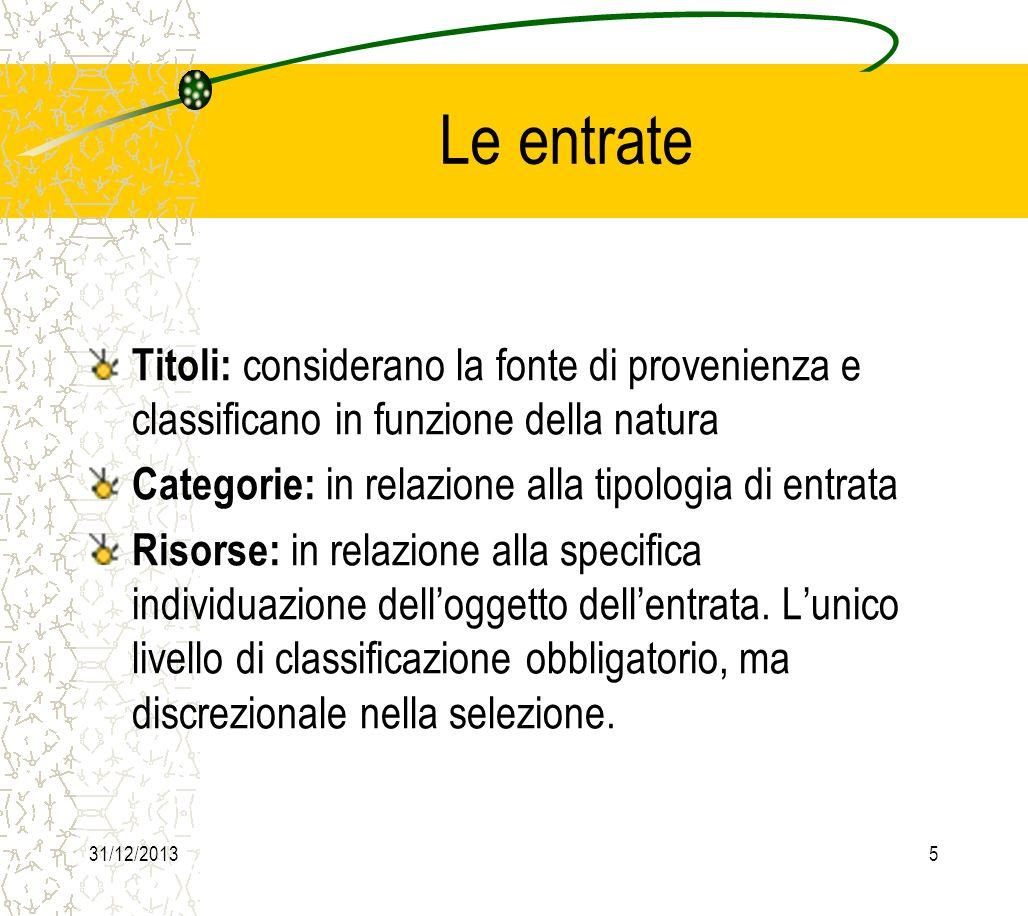 31/12/20136 Le entrate Entrate correnti (titolo I, II, III) Entrate in conto capitale (titolo IV, V) Entrate da servizi per conto terzi (titolo VI)