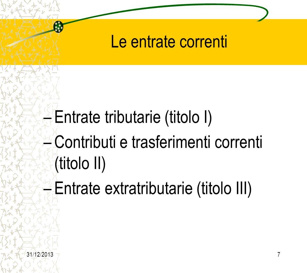 31/12/20138 Le principali entrate tributarie (titolo I) sono: –imposte (categoria 1): I.C.I.