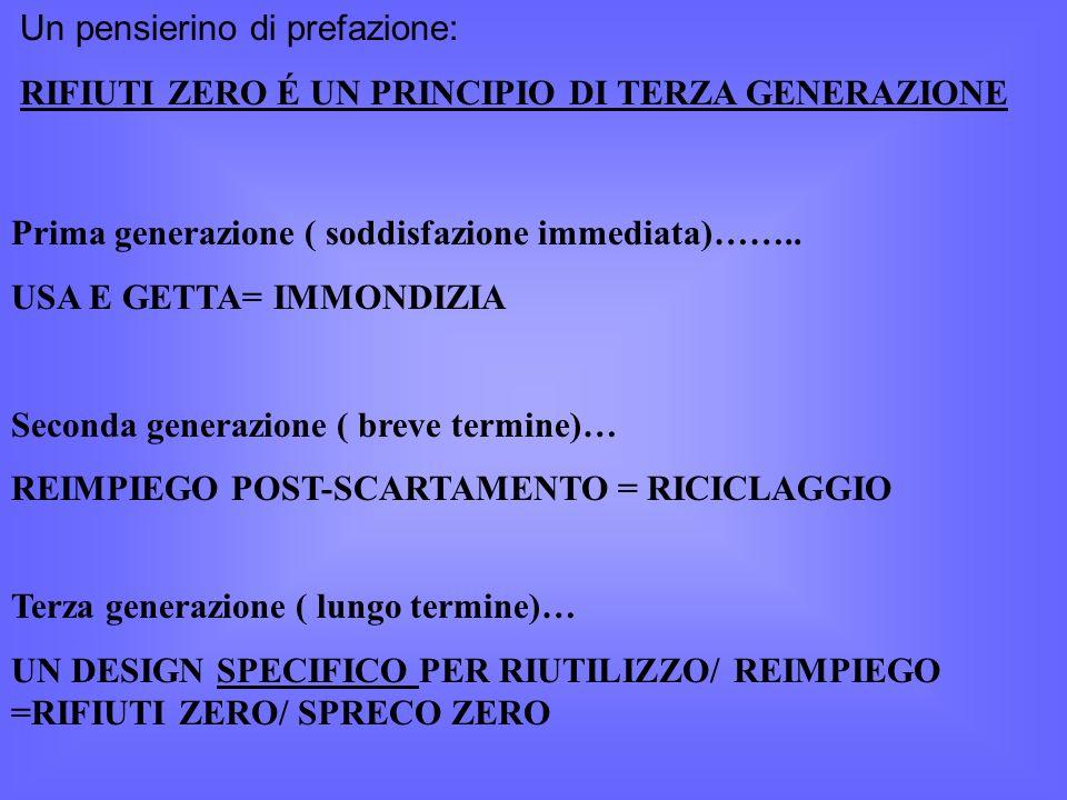 Un pensierino di prefazione: RIFIUTI ZERO É UN PRINCIPIO DI TERZA GENERAZIONE Prima generazione ( soddisfazione immediata)……..