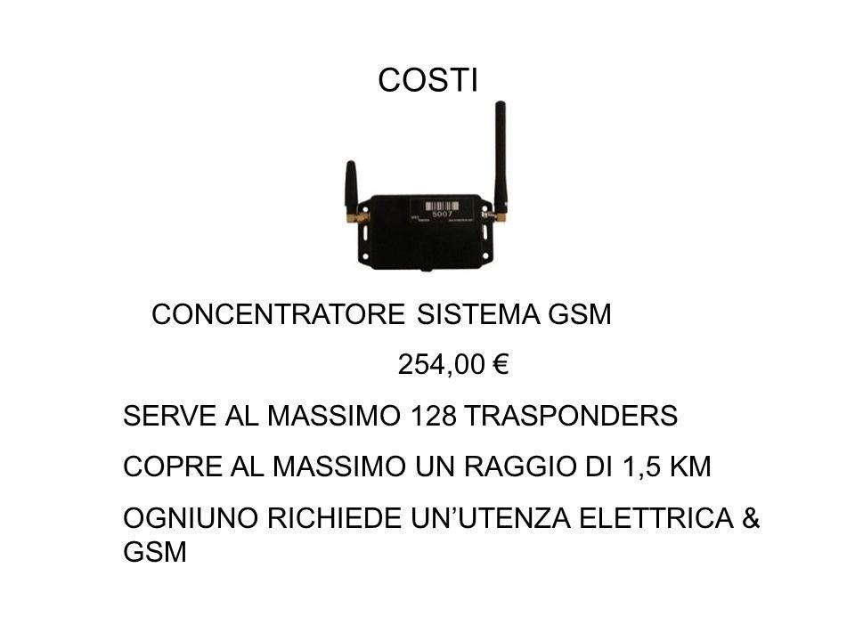 COSTI CONCENTRATORE SISTEMA GSM 254,00 SERVE AL MASSIMO 128 TRASPONDERS COPRE AL MASSIMO UN RAGGIO DI 1,5 KM OGNIUNO RICHIEDE UNUTENZA ELETTRICA & GSM