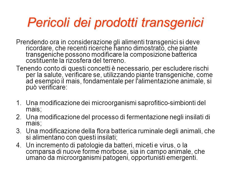 Pericoli dei prodotti transgenici Prendendo ora in considerazione gli alimenti transgenici si deve ricordare, che recenti ricerche hanno dimostrato, c