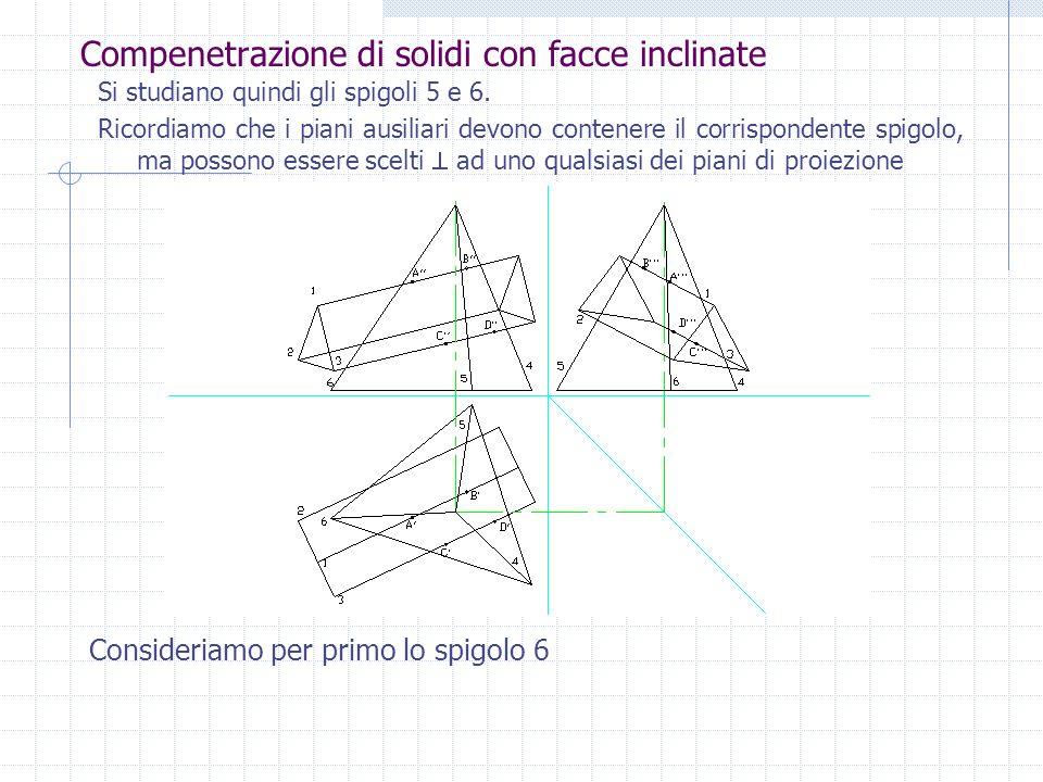 Compenetrazione di solidi con facce inclinate Si potrebbero studiare tutti e tre gli spigoli della piramide; Si considera prima la posizione dei punti