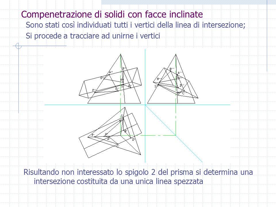 Compenetrazione di solidi con facce inclinate Si inserisce ora un piano contenente 5 e PL; da PL si proiettano verso PV i punti in cui si intercettano