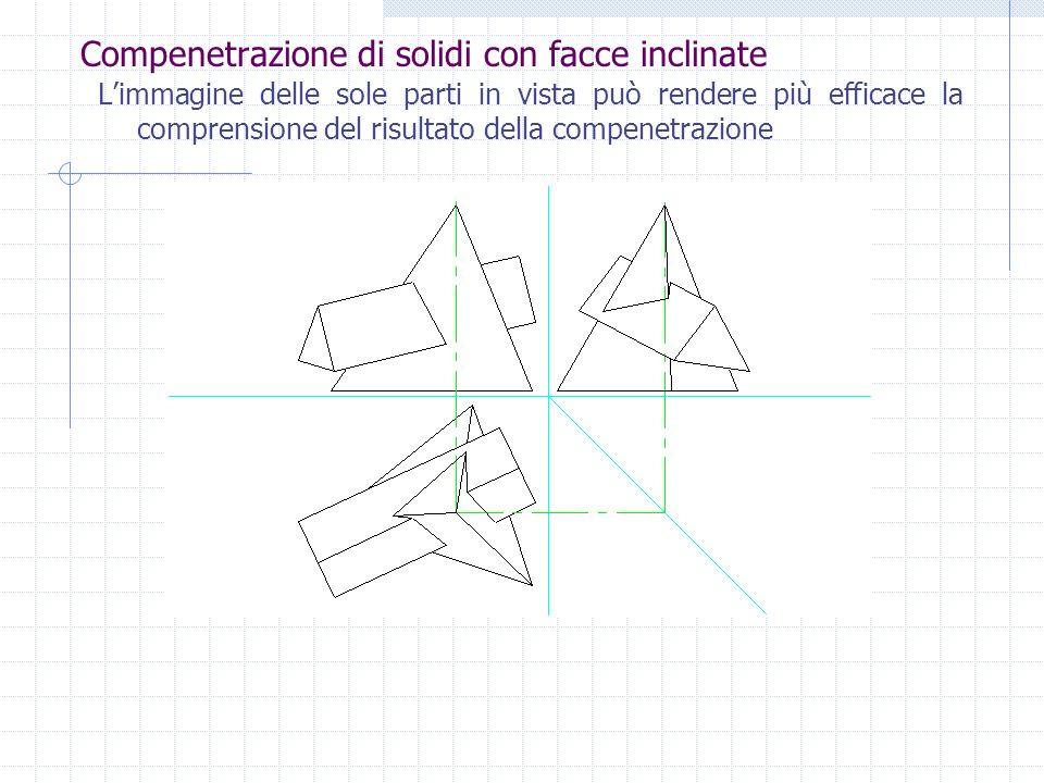 Compenetrazione di solidi con facce inclinate Si procede infine ad individuare gli elementi in vista e nascosti